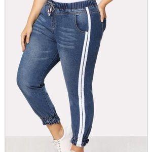 Denim - Striped Side Drawstring Waist Jeans (plus size)